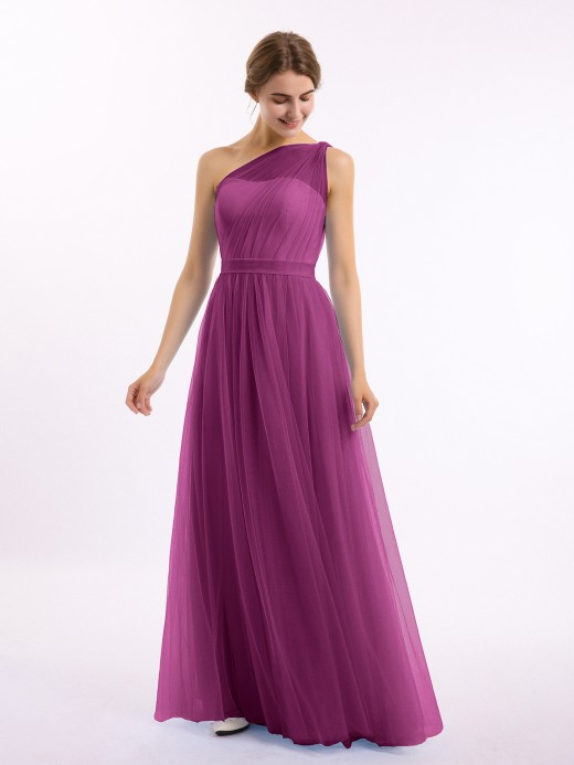 Angelina One Shoulder Mesh Wedding Party Bridesmaid Gown US10