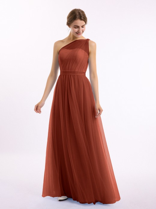 Angelina One Shoulder Mesh Wedding Party Bridesmaid Gown US18