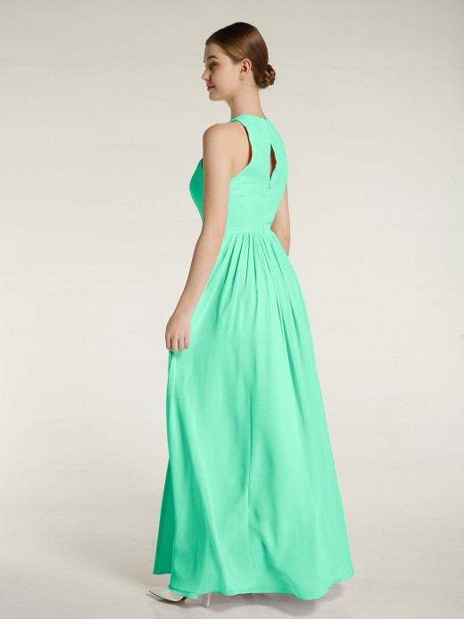 Babaroni April Halter Chiffon Simple Dress with Slit