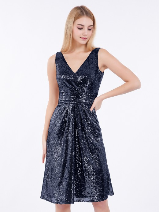 Babaroni Arlene V neckline Short Sequins Lace Dress