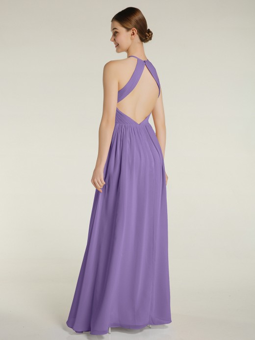 Babaroni Ash Halter Chiffon Dresses with Pleated Bodice