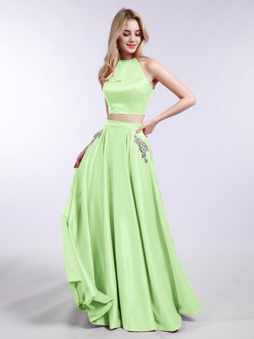 Babaroni Asha Two Piece Satin Prom Dress with Pockets