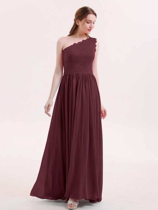 Babaroni Audrey One Shoulder Lace and Chiffon Dresses
