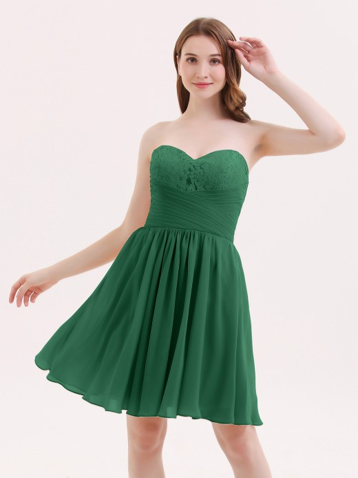 Babaroni Belinda Strapless Short Chiffon Dress with Sweetheart Neck