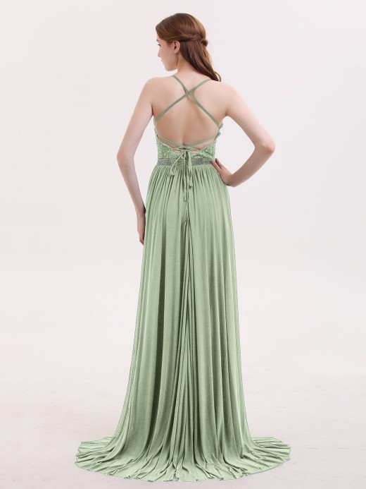 Babaroni Bertha V-neck Low Back Jersey Dress with Slit