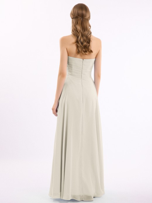 Babaroni Beryl CROSS-Pleated Empire Chiffon Dress with Sweetheart