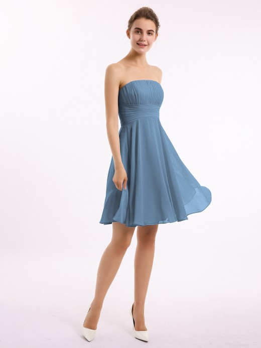 Babaroni Beverly Strapless Chiffon Knee Length Bridesmaid Dress