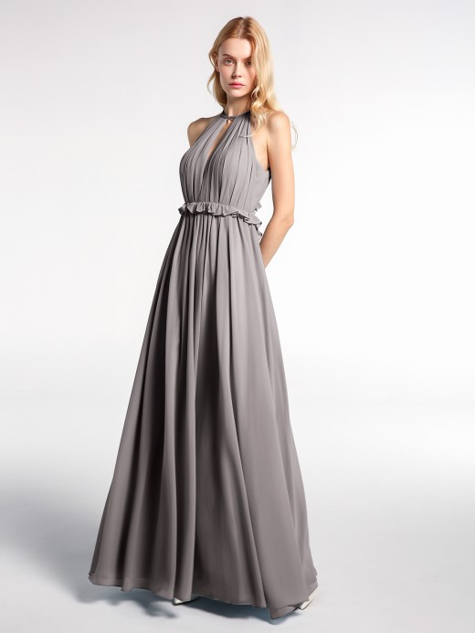 Babaroni Blanche Keyhole Neckline Open Back Chiffon Max Long Dress
