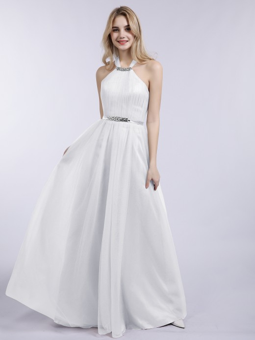 Babaroni Bonnie Halter Tulle with Beaded Long Dress