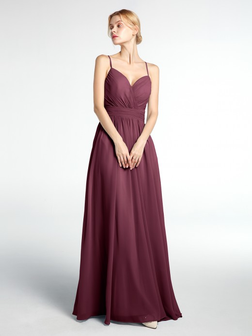 Babaroni Breenda Criss-Cross Open Back Chiffon Gown with Spaghetti Strap