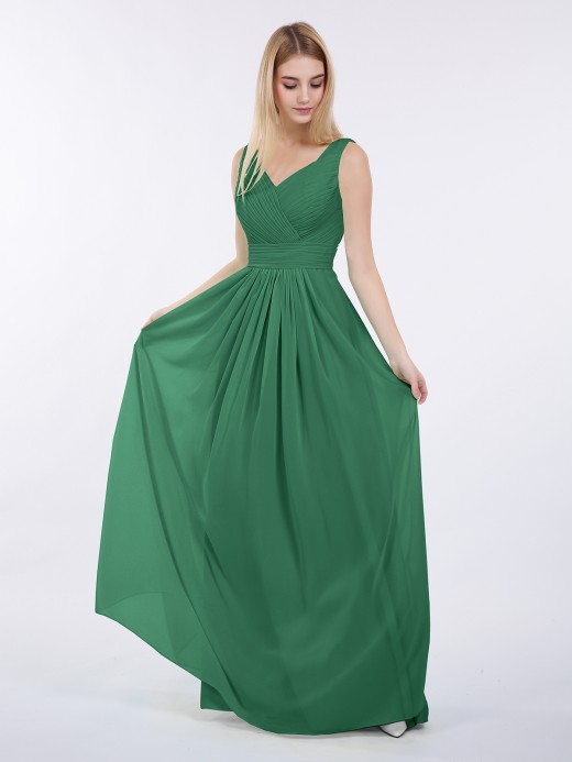 Babaroni Camille V-neck Full Length Chiffon Dress with Pleated Bodice
