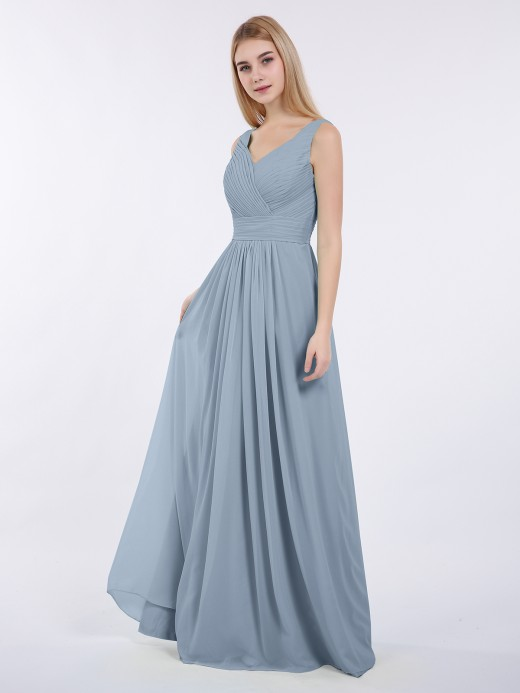 c4d0e23a7fad Babaroni Camille V-neck Full Length Chiffon Dress with Pleated Bodice ...