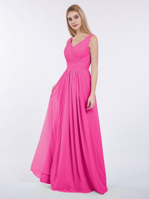 adc8c678ca1fe Babaroni Camille V-neck Full Length Chiffon Dress with Pleated Bodice ...
