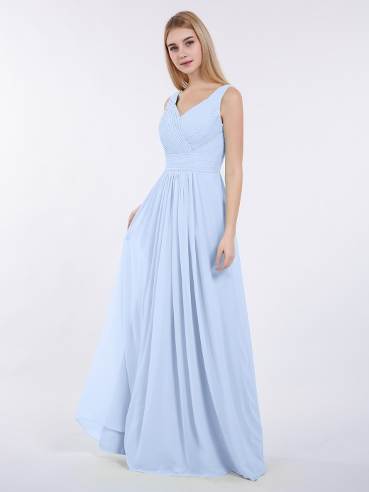5243ee7347e Babaroni Camille V-neck Full Length Chiffon Dress with Pleated Bodice ...
