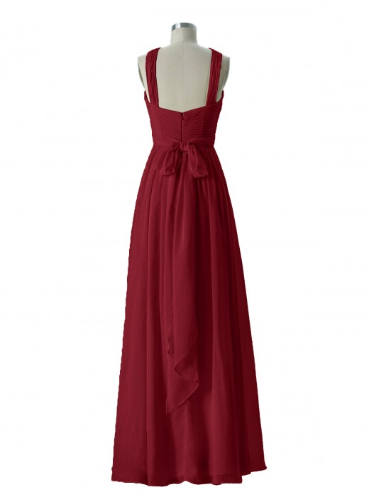 Babaroni Candance Cross-Front Chiffon Long Dress with Bow
