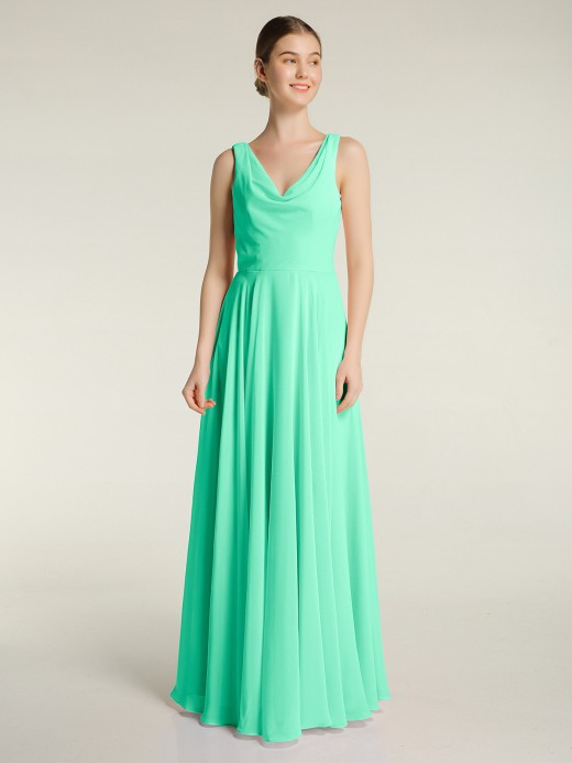 Babaroni Carol Simple Chiffon Dresses with V Neckline