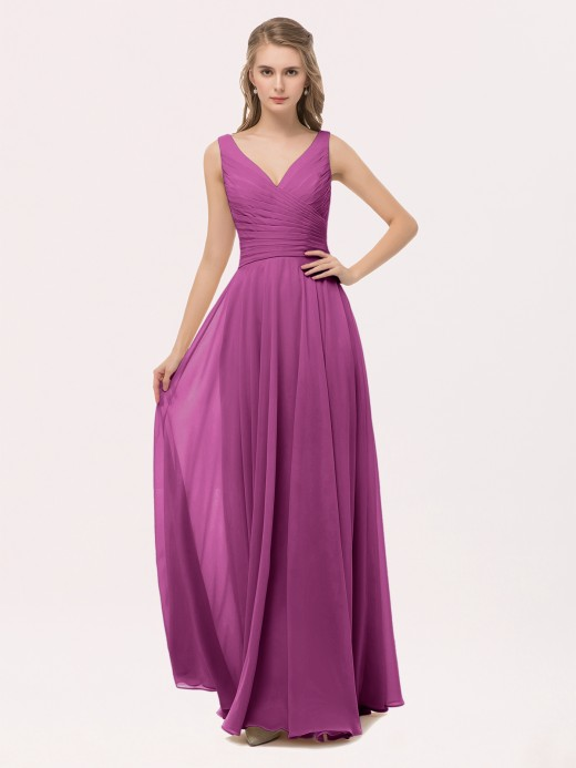 Babaroni Cassiopeia V Neck Long Chiffon Dress with Bow