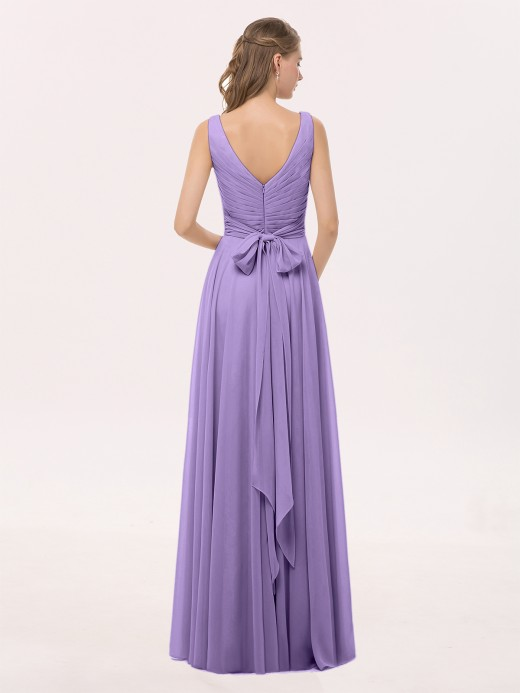 Cassiopeia V Neck Long Chiffon Dress with Bow US8