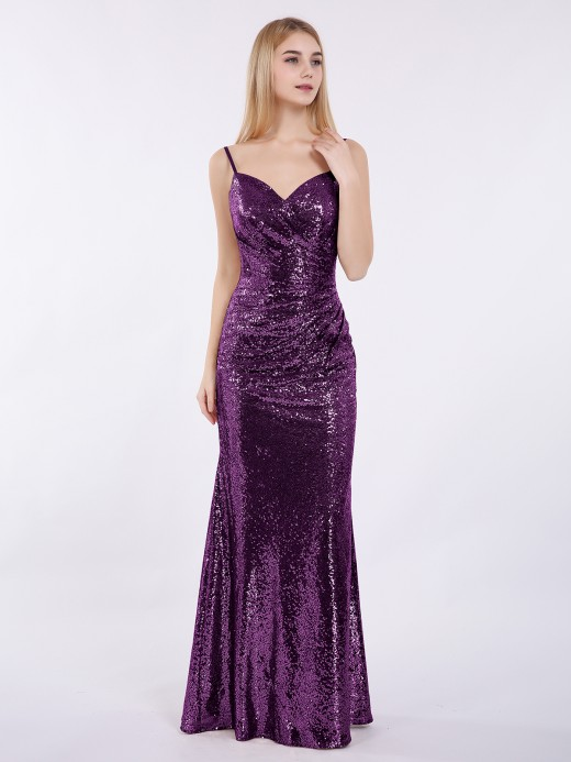 Babaroni Cathy Spaghetti Strap Sequins Gown with Sweetheart