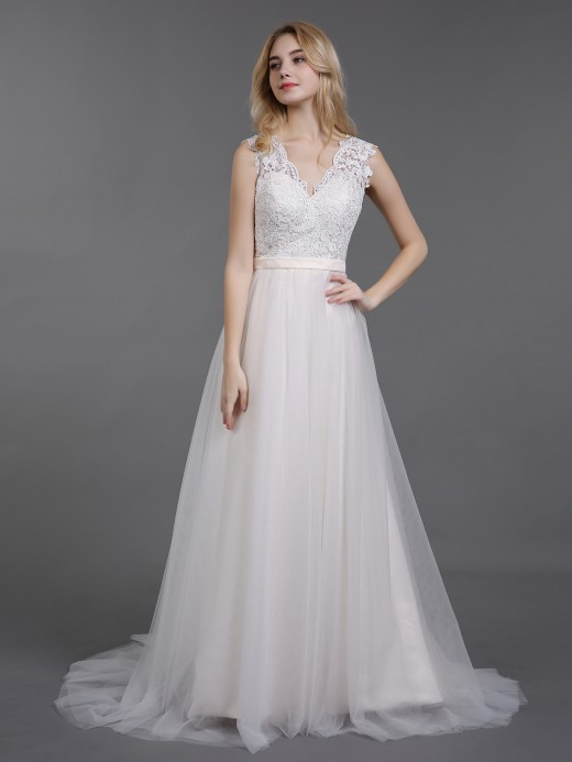 ff15d337dc8 Babaroni Cecilia V Neckline Lace and Tulle Beach Wedding Gown ...