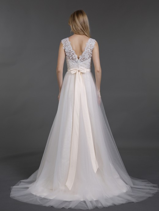 Babaroni Cecilia V Neckline Lace and Tulle Beach Wedding Gown
