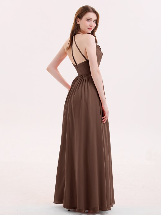 Babaroni Celina V Neck Full Length Chiffon Bridesmaid Dress