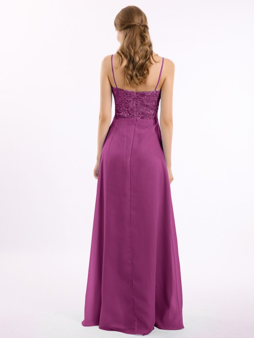 Babaroni Cherry Lace and Chiffon Long Dresses with Spaghetti Straps