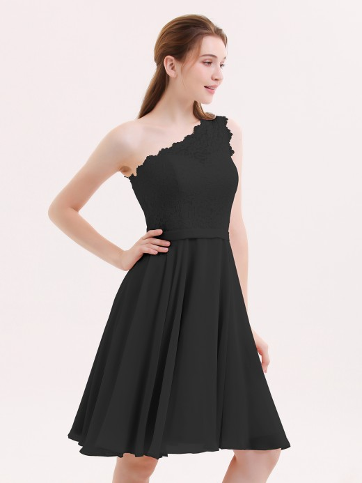 Babaroni Cheryl One Shoulder Short Lace Bridesmaid Dress