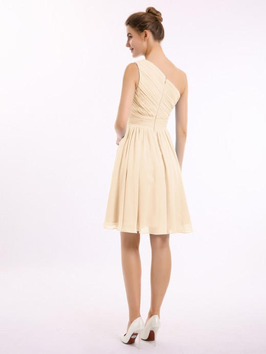 Babaroni Chloe One Shoulder Mini Short Chiffon Dresses