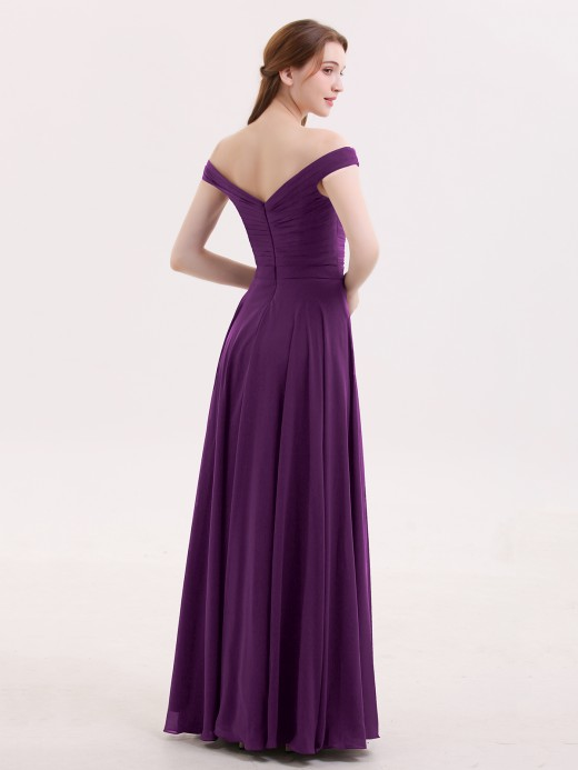 Babaroni Christine Off Shoulder Full Length Chiffon Dress