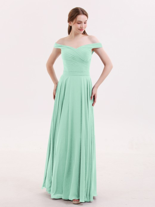 f1c9eed1daeb Mint Green Off-the-shoulder Bridesmaid Dresses   Bridesmaid Gowns ...