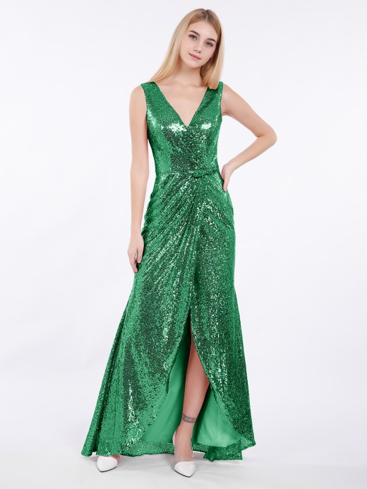 Babaroni Ciel Short Front Long Back Sequins Dress