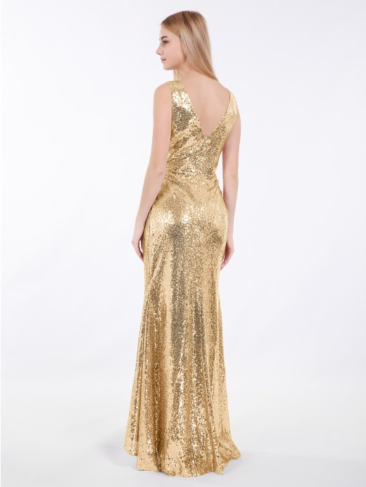 Babaroni Ciel Shrot Front Long Back Sequins Dress
