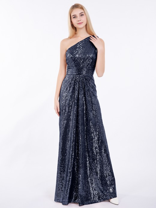 Babaroni Claire One Shoulder Long Sequins Gown