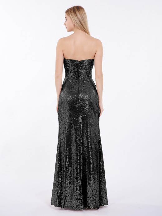 Babaroni Clara Strapless Full Length Sequins Dress
