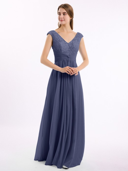 Babaroni Claudia Cap Sleeves Chiffon and Lace Dress with V-NECK