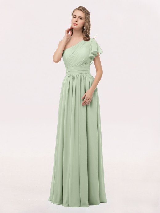 Clementine One Shoulder Flutter Sleeve Chiffon Gown US14