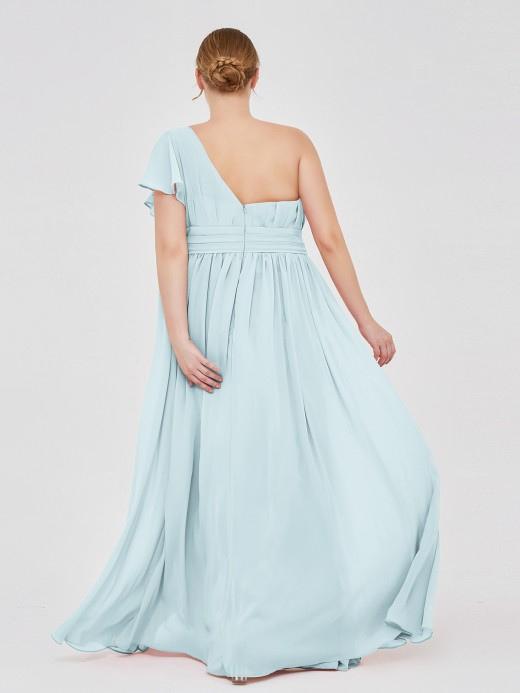 Babaroni Clementine One Shoulder Flutter Sleeve Chiffon Gown