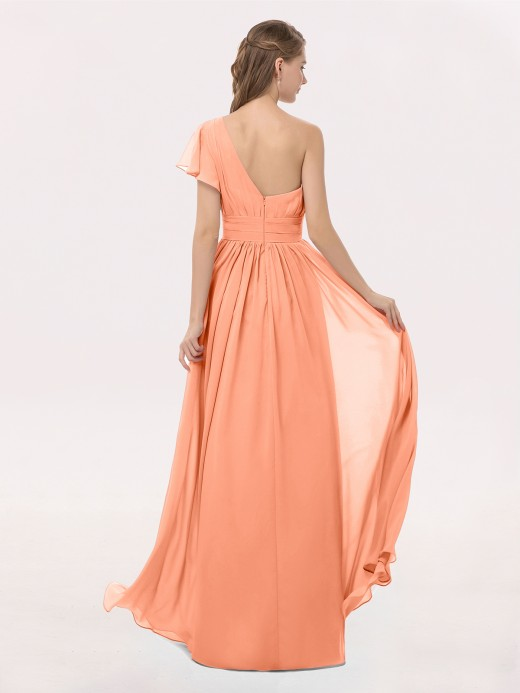 Clementine One Shoulder Flutter Sleeve Chiffon Gown US8