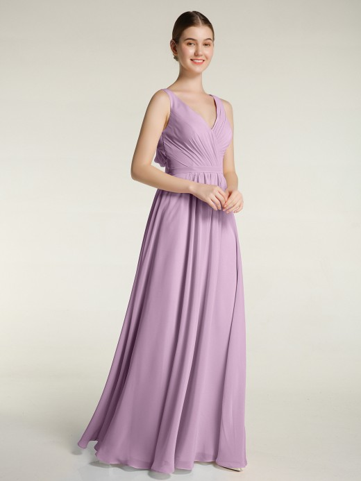 Babaroni Clover Open Back Chiffon Dresses with V-neck