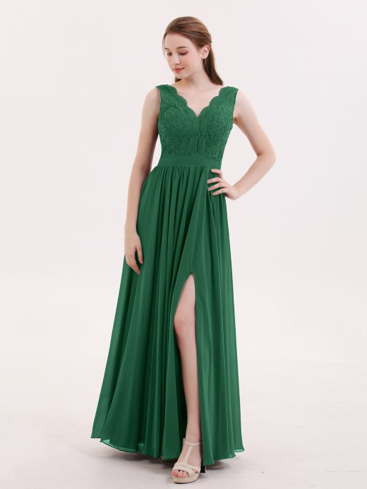 Babaroni Constance Lace and Chiffon Sexy Dress with Slit