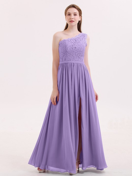 Babaroni Crystal One Shoulder Chiffon And Lace Dress with Slit