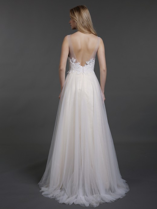 Babaroni Cyan Lace Bodice Tulle Skirt Sweep Train Bridal Gown
