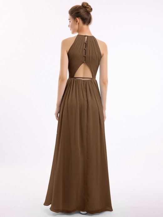 Babaroni Cynthia Long Halter Chiffon Dresses with Open Back