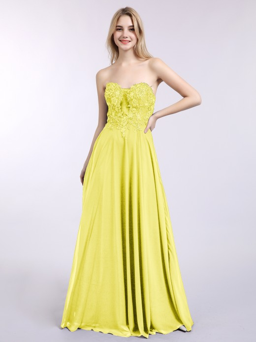 Babaroni Daisy Strapless Chiffon with Appliqued Gown