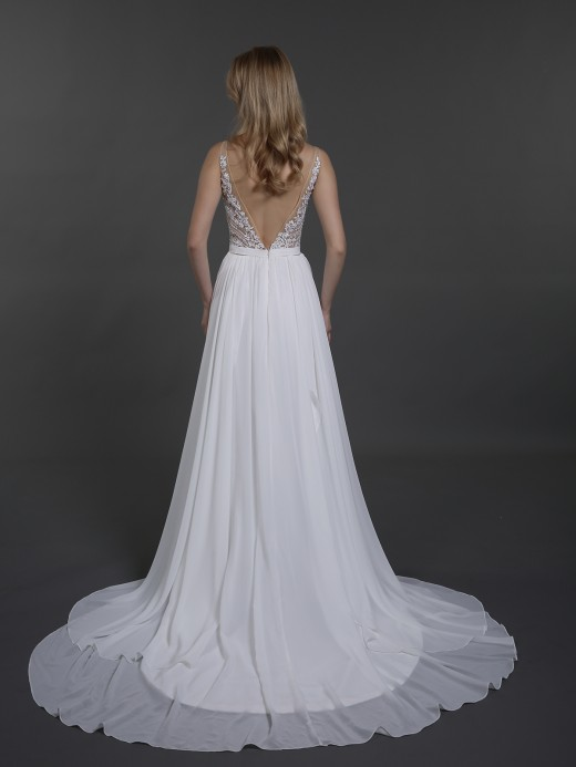 Babaroni Dale Chiffon with Beaded V-neck Wedding Dress
