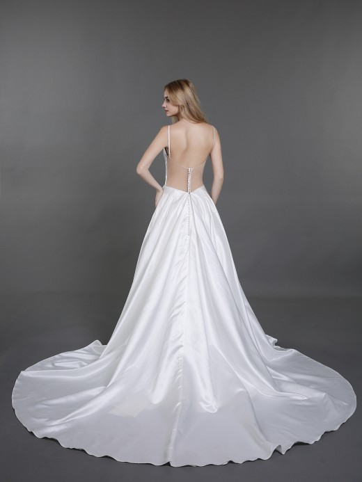 Babaroni Danae Spaghetti Strap Simple Satin Bridal Gown