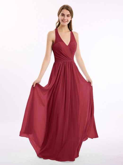 Babaroni Daphne V Neckline Chiffon Dress with Bow Straps
