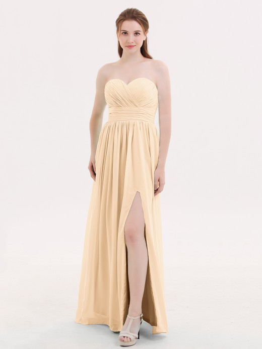 Babaroni Darlene Strapless Sweetheart-Neck Bridesmaid Dress with Slit