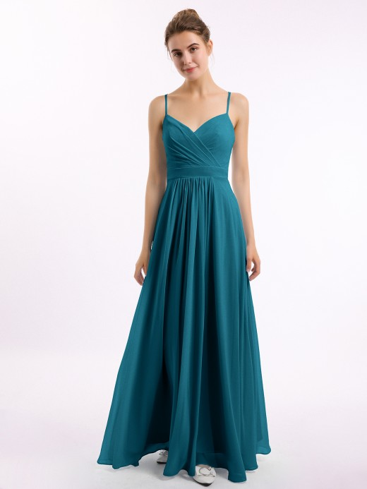 Babaroni Debby Spaghetti Straps Chiffon Dress with Sweetheart Neck
